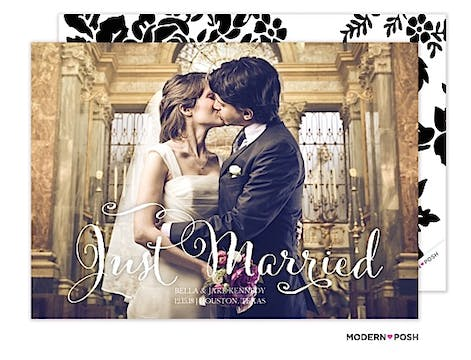 Just Married Script Photo Marriage Announcement