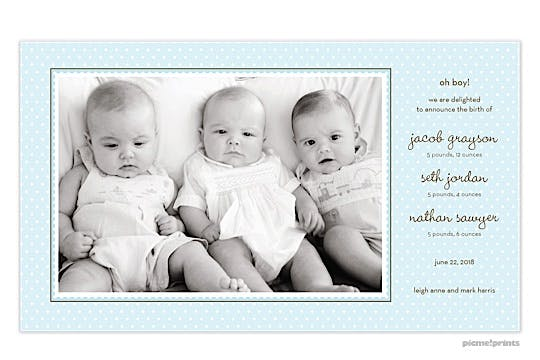 Ruffle Dots Powder Boy Photo Birth Announcement