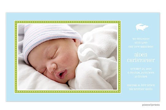 Dotted Border Powder Boy Photo Birth Announcement
