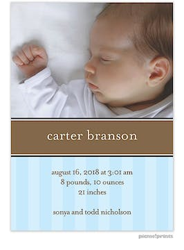 Infant Stripes Baby Blue Boy Photo Birth Announcement