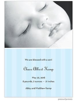 Simply Stripes Baby Blue Boy Photo Birth Announcement