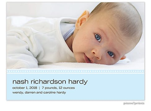 Picture Perfect Wide Baby Blue Boy Photo Birth Announcement