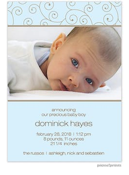 Modern Swirls Tall Baby Blue Boy Photo Birth Announcement