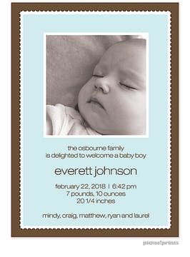 Simple Frame Tall Robin's Egg Boy Photo Birth Announcement