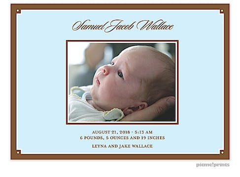 Simple Frame Baby Blue Boy Photo Birth Announcement