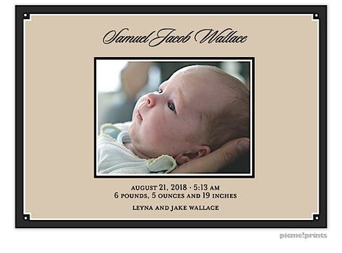 Simple Border Wide Black Boy Photo Birth Announcement