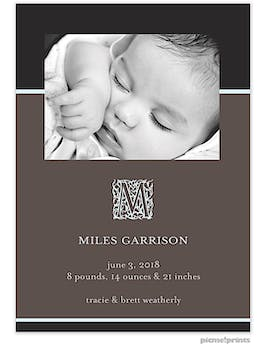 Modern Flair Dark Baby Blue Boy Photo Birth Announcement