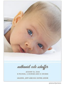 Picture Perfect Tall Baby Blue Boy Photo Birth Announcement