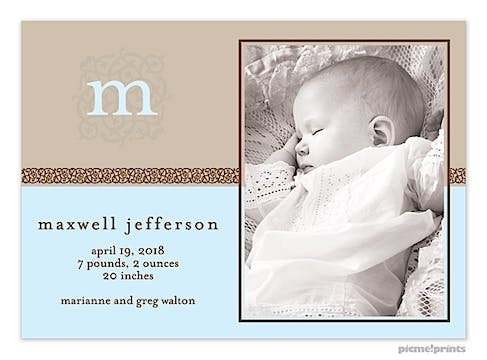 Ivy League Baby Blue Boy Photo Birth Announcement