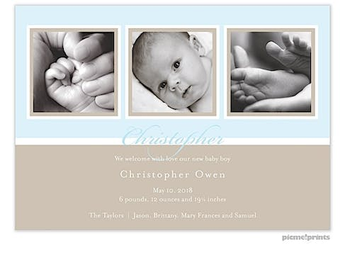 Windows Powder Boy Photo Birth Announcement