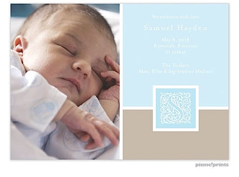 Initial Frame Powder Boy Photo Birth Announcement