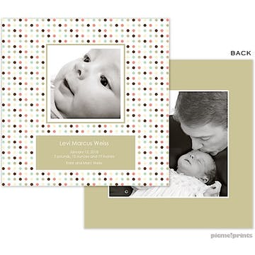 Cosmopolidots Moss Boy Photo Square Birth Announcement