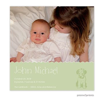 Puppy Love Leaf Boy Photo Square Birth Announcement