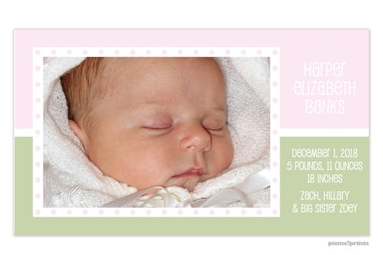 Just Like Ice Cream Baby Pink Girl Photo Birth Announcement