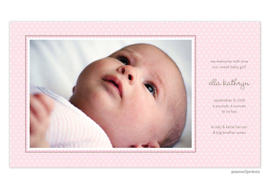 Ruffle Dots Pink Girl Photo Birth Announcement