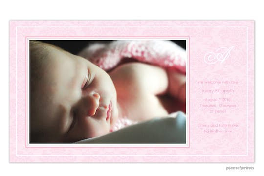 Baby Damask Baby Pink Girl Photo Birth Announcement