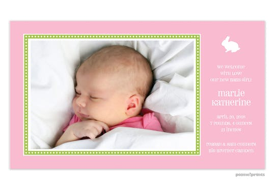 Dotted Border Bubblegum Girl Photo Birth Announcement