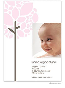 Growing Tree Pink Girl Photo Birth Announcement
