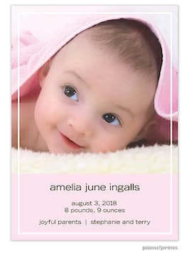 That's My Line Tall Pink Girl Photo Birth Announcement