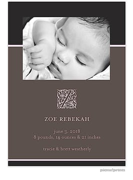 Modern Flair Dark Pink Girl Photo Birth Announcement