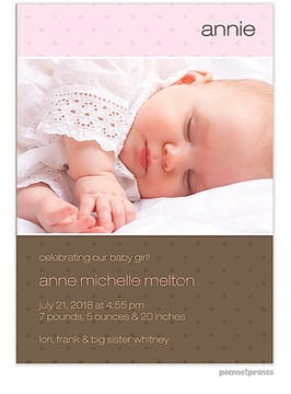 Hip to Be Square Pink Girl Photo Birth Announcement