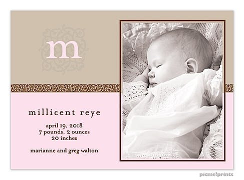 Ivy League Pink Girl Photo Birth Announcement