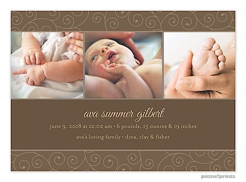 Modern Dark Swirls Dark Chocolate Girl Photo Birth Announcement