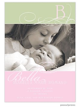 All In A Whirl Pink Girl Photo Birth Announcement