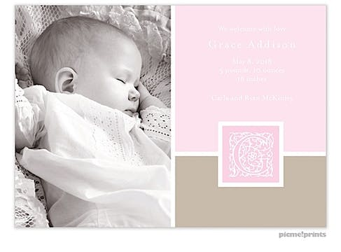 Initial Frame Pink Girl Photo Birth Announcement