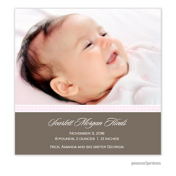 It's A Wonderful Life Baby Pink Girl Photo Square Birth Announcement