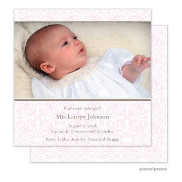 Pretty Pattern Baby Pink Girl Photo Square Birth Announcement
