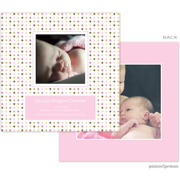 Cosmoholidots Pink Girl Photo Square Birth Announcement