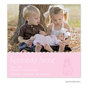 Bunny Love Pink Girl Photo Square Birth Announcement