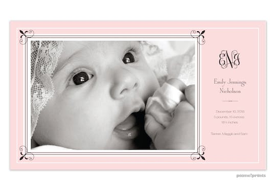 Fleur De Lis Ballet Girl Photo Birth Announcement