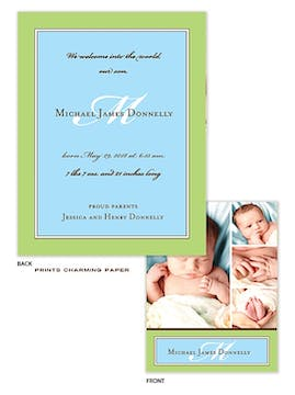 Green Border with Blue Sweet Petite Photo Birth Announcement