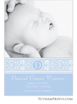 Blue Filigree Band Flat Photo Card