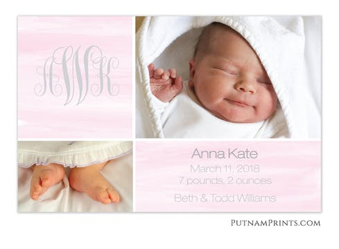 Watercolor Wash Pink Flat Photo Birth Announcement