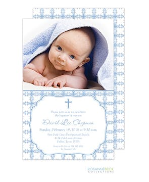 Tile Cross Photo Card - Blue Boy Photo Birth Announcement