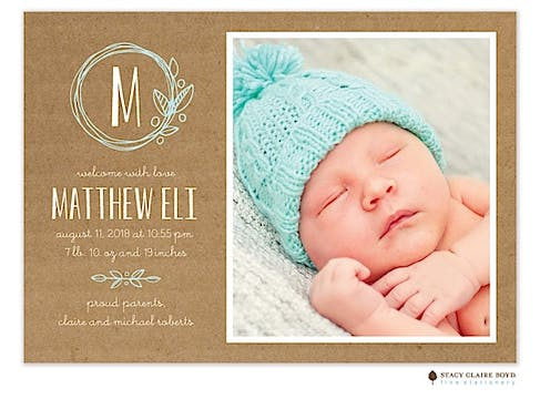 Garden Wreath Photo Birth Announcement
