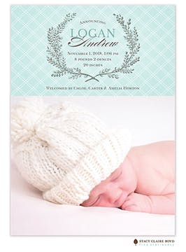 Lovely Laurel Photo Birth Announcement