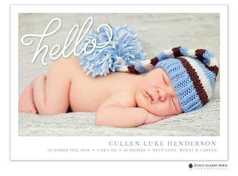 Say Hello Photo Birth Announcement