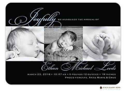 Elegant Moments Photo Birth Announcement