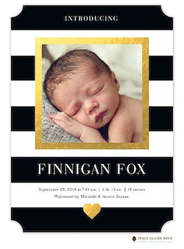 Modern Heart Gold Photo Birth Announcement