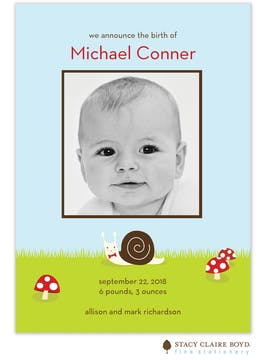 Snips and Snails Boy Photo Birth Announcement