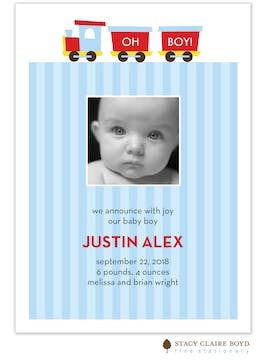 Oh Boy! Boy Photo Birth Announcement
