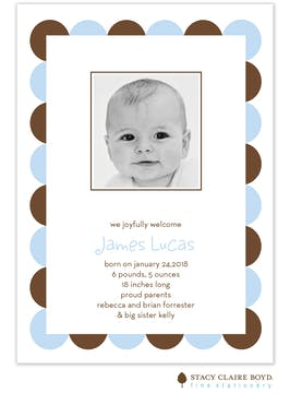 Simple Scallops Blue Boy Photo Birth Announcement