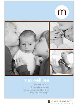 Three's A Charm Blue Boy Photo Birth Announcement