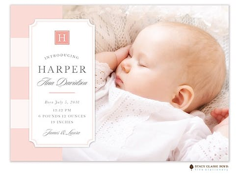Simply Sweet Photo Birth Announcement