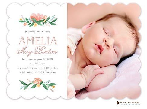 Painted Peonies Photo Birth Announcement