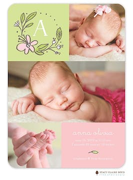 Sweet Blossoms Photo Birth Announcement
